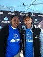 With soccer star during bilingual Allstate promo